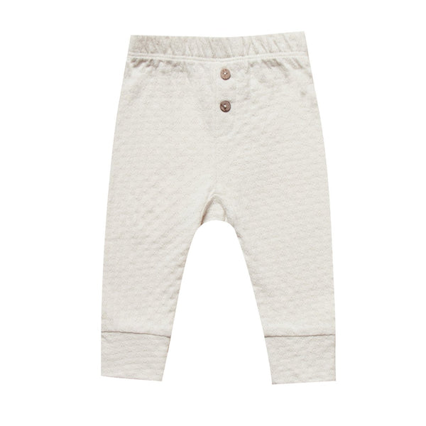 Baby ivory pointelle organic knit pants