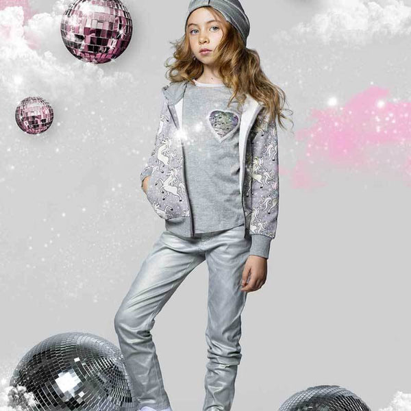 Paper Wings silver girls metallic jeans
