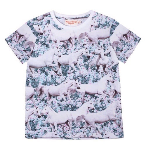 Paper wings horse girls T shirt organic short sleeves