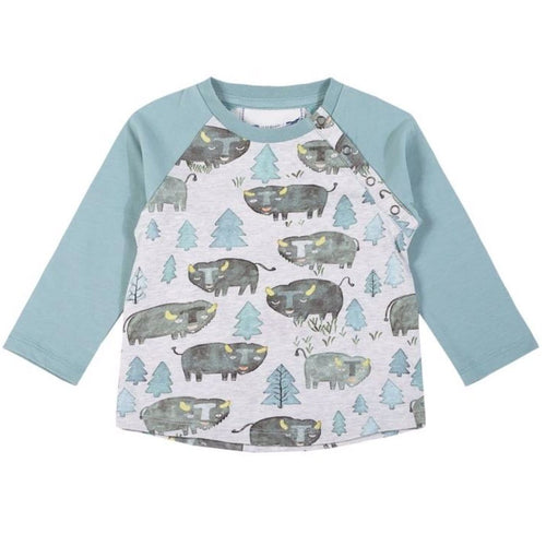 Paper wings raglan bison print baby boy t-shirt