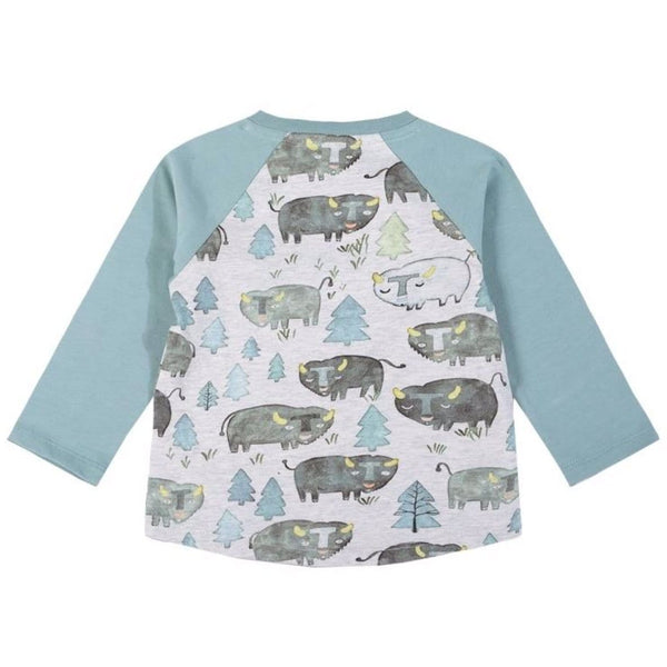 Raglan bison print baby boy t-shirt by Paper Wings