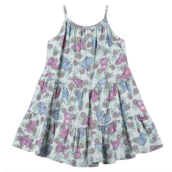 Paper wings pink and blue butterfly print girls sleeveless top