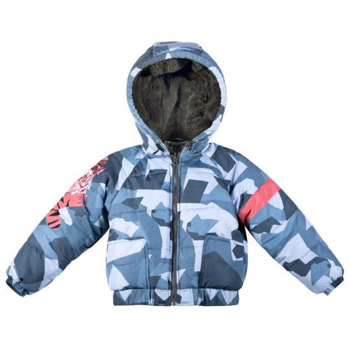 Paper wings blue camo and tiger boys puffer jacket
