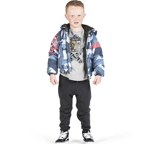 Paper Wings blue camo boys puffer jacket