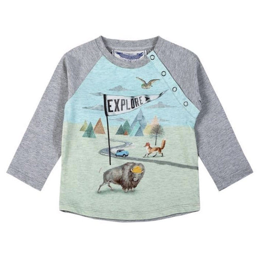 Paper wings explore baby boy graphic t-shirt