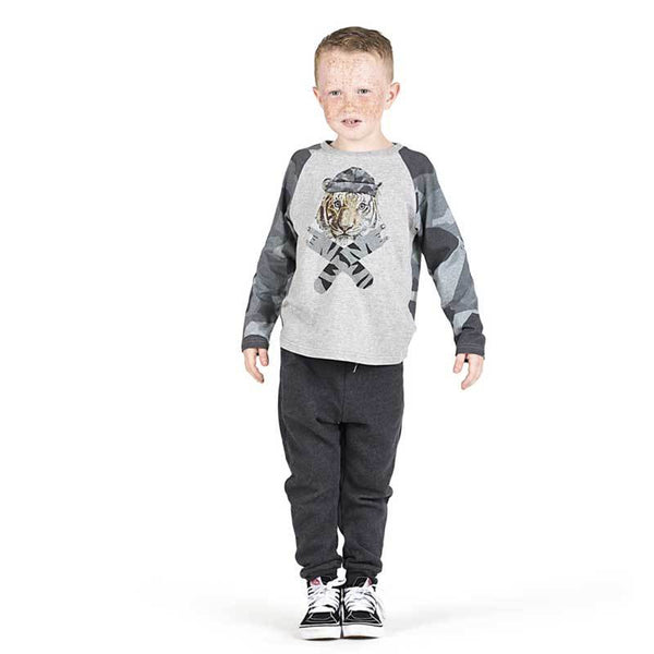Paper wings boys grey camo t shirt with tiger graphic