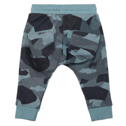 Paper wings blue camo print baby boy joggers