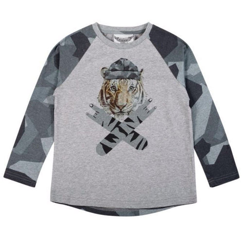 Paper wings long sleeve tiger and camo boys t-shirt
