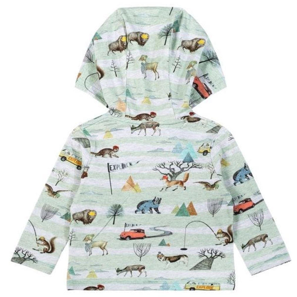 Nature print baby boy hooded t-shirt by paper wings