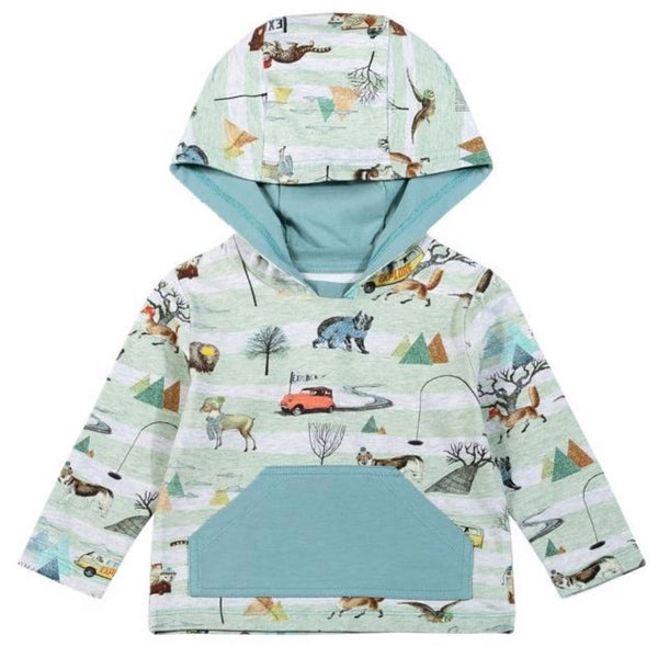 Paper wings nature print baby boy hooded t-shirt