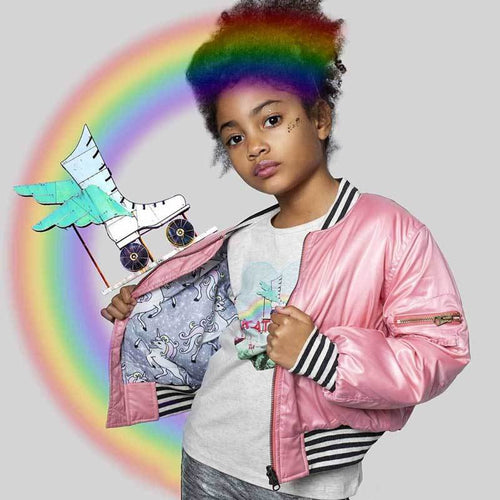 Paper Wings pink silk bomber jacket for girls