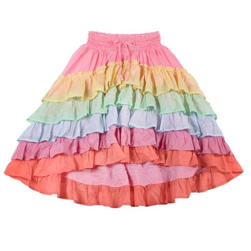 Paper wings rainbow frilled girls maxi skirt