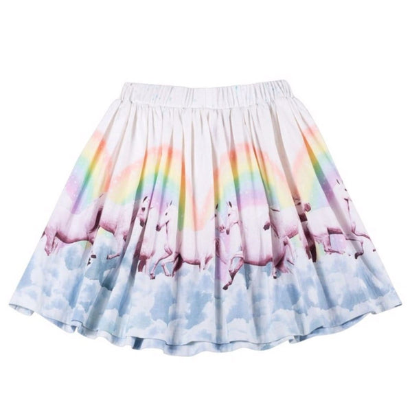 Paper wings rainbow horse girls skirt