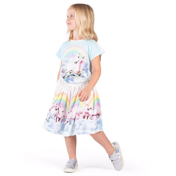 Paper wings rainbow horse print girls skirt