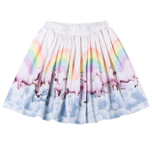 Paper wings rainbow horse toddler and girls twirl skirt with pleats