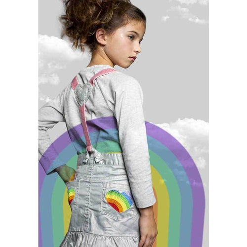 Paper Wings suspender girls skirt with rainbow pockets