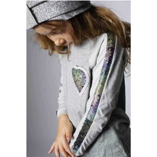 Paper Wings rainbow sequin and heart girls tee shirt