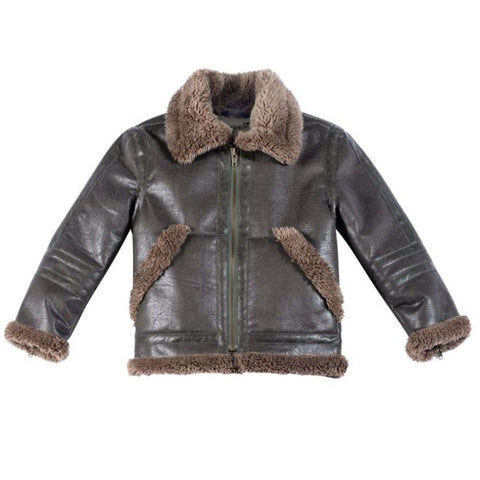 Paper Wings Brown Boys Shearling Jacket