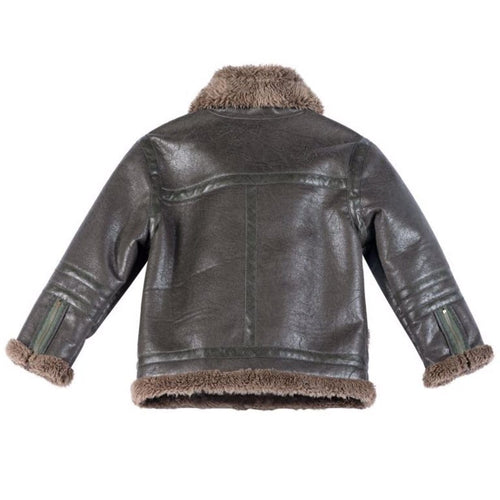Brown shearling boys jacket by paper wings