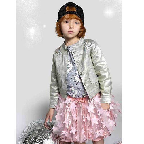 Paper Wings silver metallic girl and toddler jacket