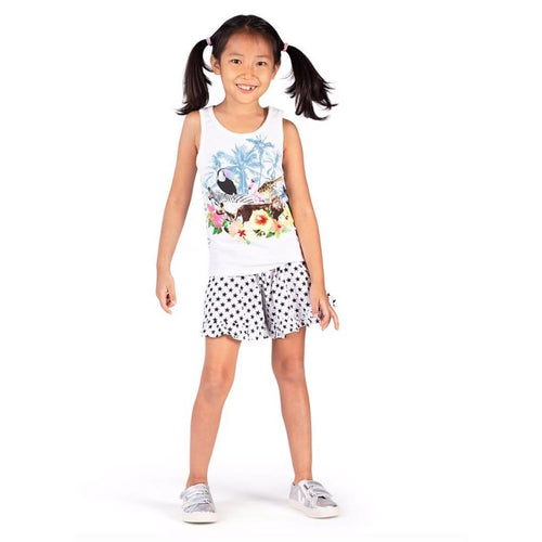 Paper wings white and black star print girls shorts