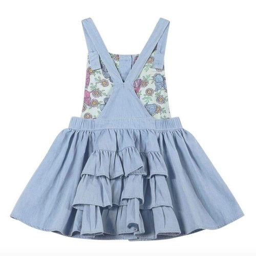Paper wings light blue chambray bustle girls short overalls