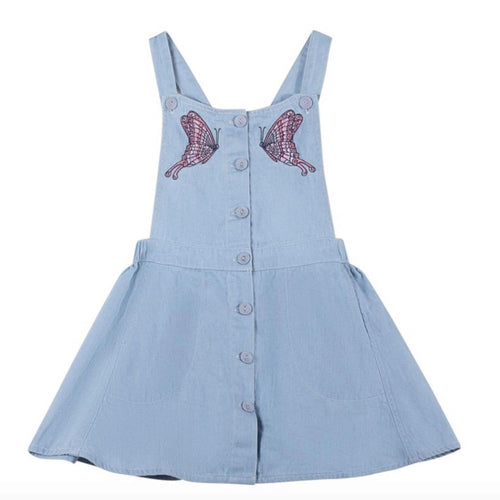 Paper wings light blue chambray bustle girls skirt overall jumper dress
