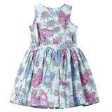 Paper wings pink and blue butterfly print girls sun dress