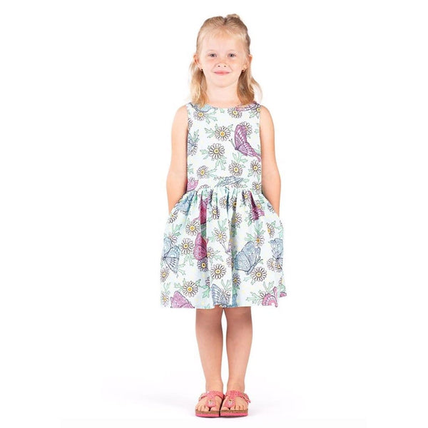 Paper wings pink and blue butterfly print tank girls dress