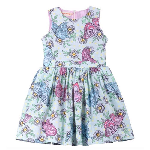 Paper wings pink and blue butterfly print sleeveless girls dress