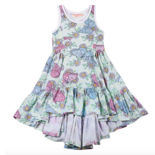 Paper wings blue and pink butterfly bustle sleeveless  girls twirl dress