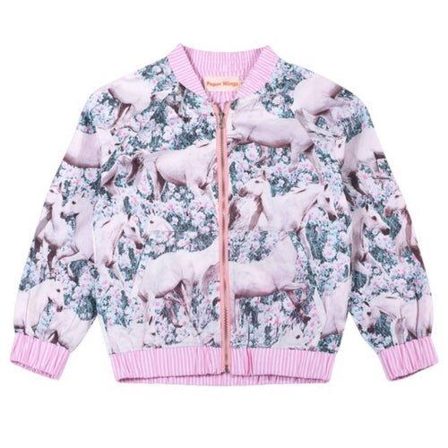 Paper wings unicorn print girls bomber jacket