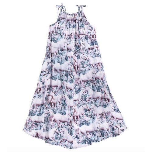 Paper wings pink unicorn girls maxi dress
