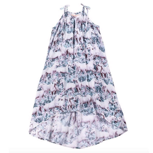 Paper wings pink unicorn print girls maxi dress