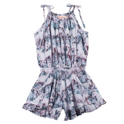 Paper wings unicorn print girls romper