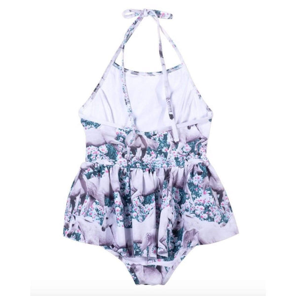 Paper wings pink unicorn print one piece girls swimsuit