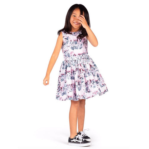 Paper wings pink unicorn print girls sleeveless dress