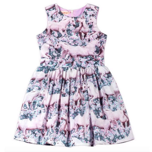 Paper wings pink unicorn print girls dress