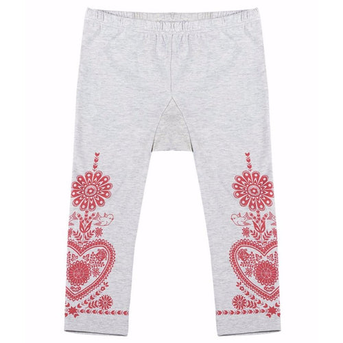 Paper wings grey with red embroidery baby girl leggings