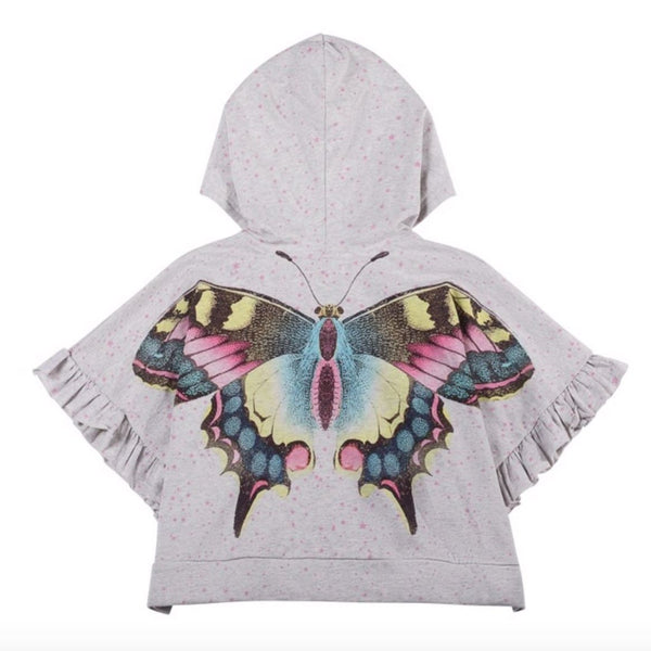 Paper wings grey butterfly short sleeve girls hoodie poncho