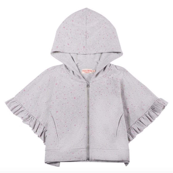Paper wings grey butterfly short sleeve girls poncho