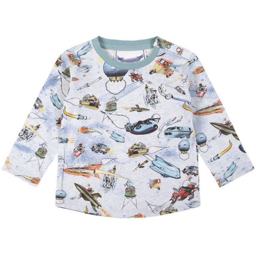 Paper wings space printed long sleeve baby boy t-shirt