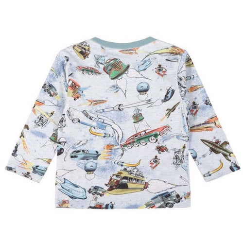 Space printed long sleeve baby boy t-shirt by paper wings