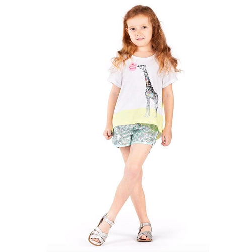Paper wings short sleeve giraffe girls graphic t-shirt