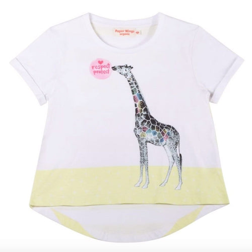Paper wings short sleeve giraffe girls graphic t shirt