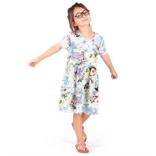 Paper wings hawaiian print girls t-shirt dress