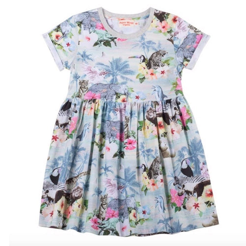 Paper wings hawaiian print girls knit dress
