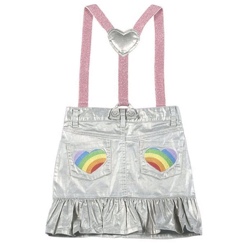 Paper Wings silver metallic girl skirt with suspenders