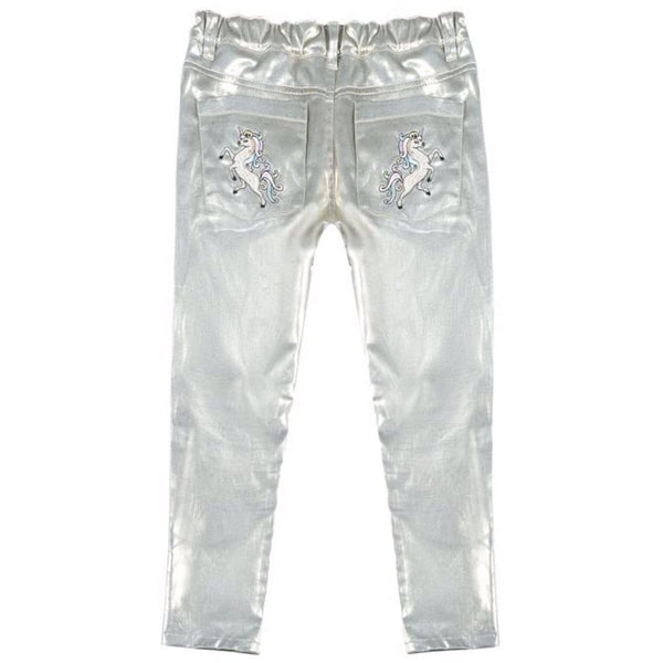 Silver unicorn embroidered girls jeans by paper wings