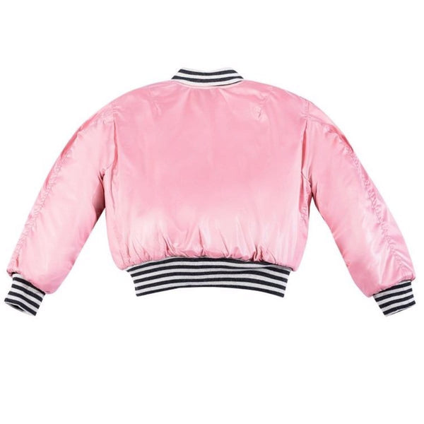 Pink girls bomber jacket with stripe trim by paper wings